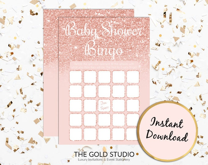 Rose Gold Baby Bingo Baby shower Instant Download   Printable Baby Shower Game   Pink Peach Baby Bingo Game  Baby Shower Games Print at home