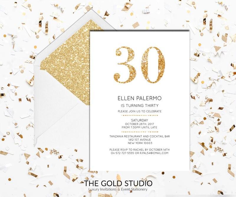 30th Birthday Invitation | White & Gold Glitter modern 30 birthday invite | Printed Invitations 30th Birthday Milestone birthday invitation