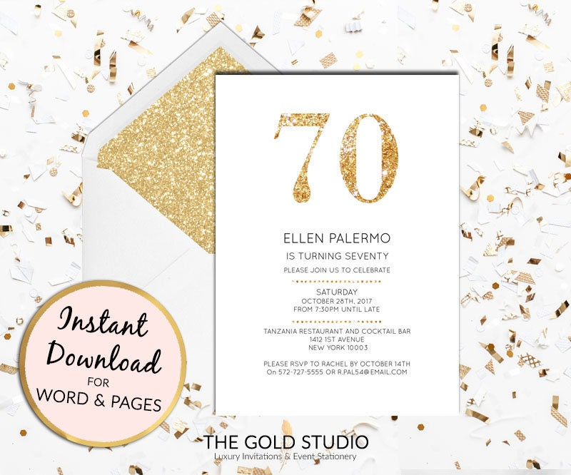 Instant Download 70th Birthday Invitation Seventy 70 Modern Elegant Gold Glitter Invite Editable Template Mac Or PC Word Pages
