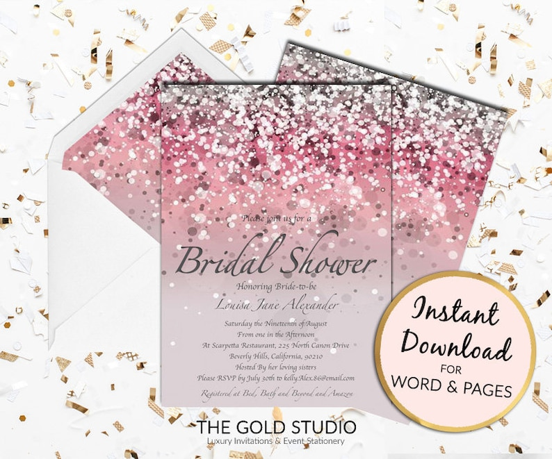 1051385985c8 Bridal Shower Invitation Instant Download Pink bridal shower