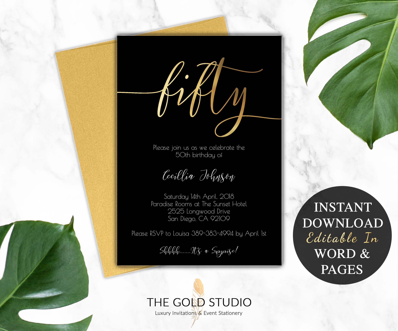 50th Birthday Invitation Printable | Instant download Editable Template |  DIY 50th birthday party invite | Modern Black & Gold invitation