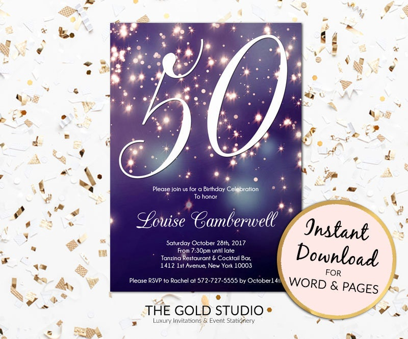 50th Birthday Invitation Instant Download Blue Purple Sparkle Firework Bokeh Glamorous Modern Party Invite Mac Or PC Word Pages