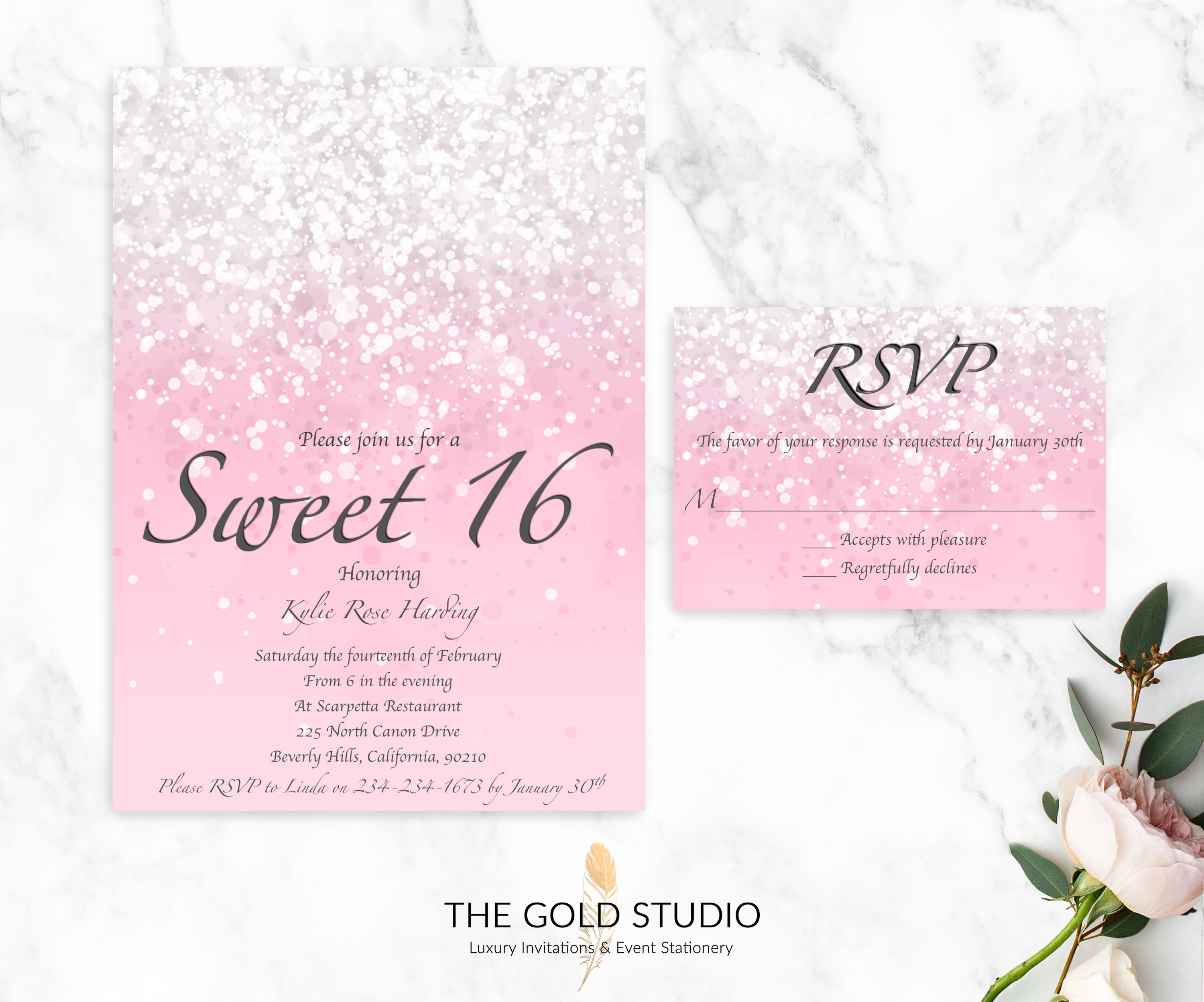 Sweet 16 Invitation RSVP Cards