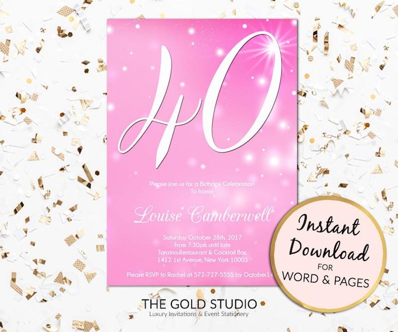 Pink 40th Birthday Invitation Editable Instant Download Modern