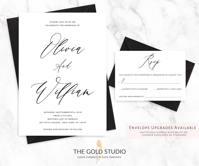 Wedding Invitation Suite | Elegant Black and White Calligraphy ...