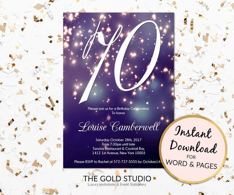 70th birthday invitation instant download blue purple sparkle 70th birthday invitation instant download blue purple sparkle firework bokeh glamorous modern birthday party invite mac or pc word or pages filmwisefo