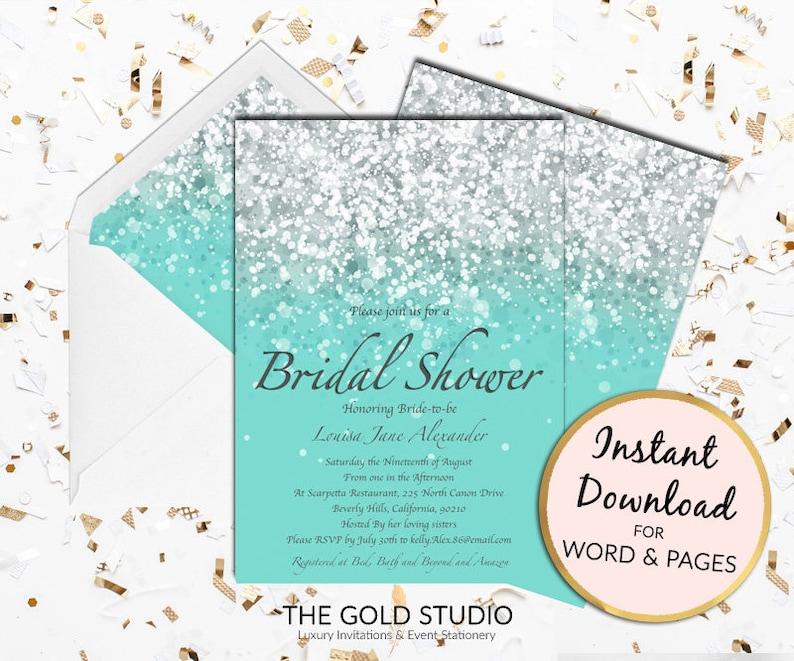 491778b93583 Bridal Shower invitation Teal turquoise glamorous glitter