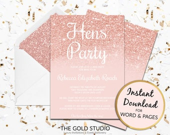 Hens Party Invitation | Rose Gold hens invite | Editable hens night invitations |  Instant Download template | Modern Peach Pink Glitter