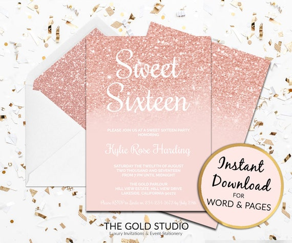 rose gold sweet 16 invitation sweet sixteen instant download etsy