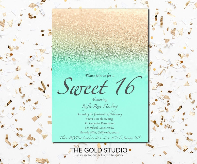 Sweet 16 invitation Mint & gold glitter Sweet sixteen modern ...