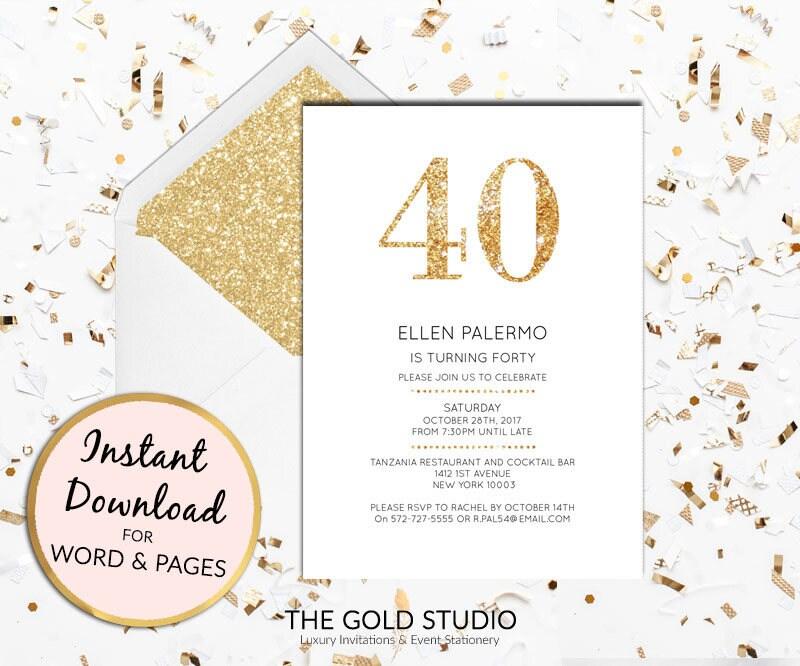 instant download 40th birthday invitation forty modern elegant gold