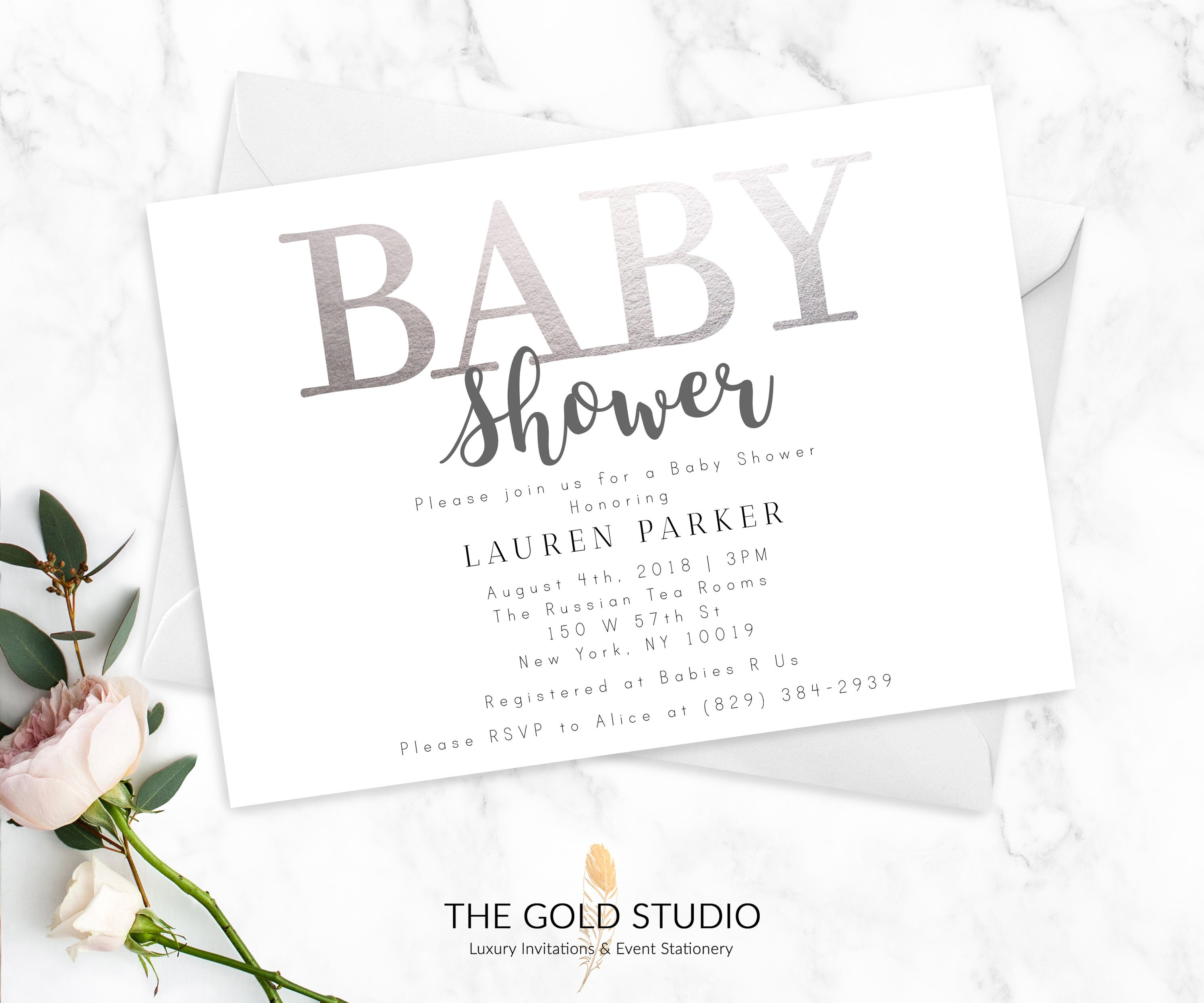 Baby shower invitations modern silver white printed invitations baby shower invitations modern silver white printed invitations elegant feminine baby shower invites gender neutral printed cards filmwisefo