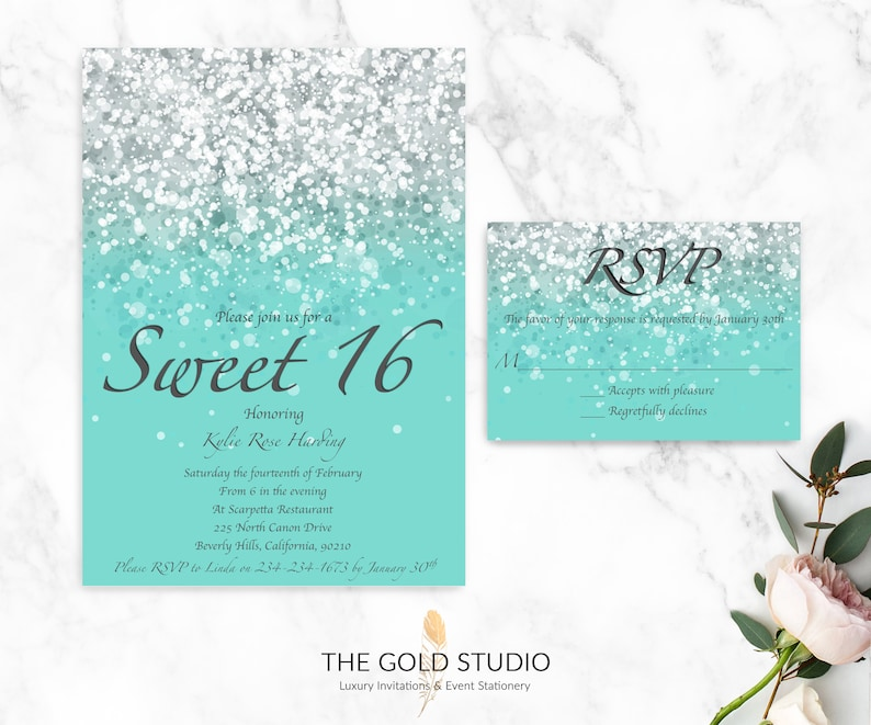 Sweet 16 Invitations RSVP Cards Luxury Printed