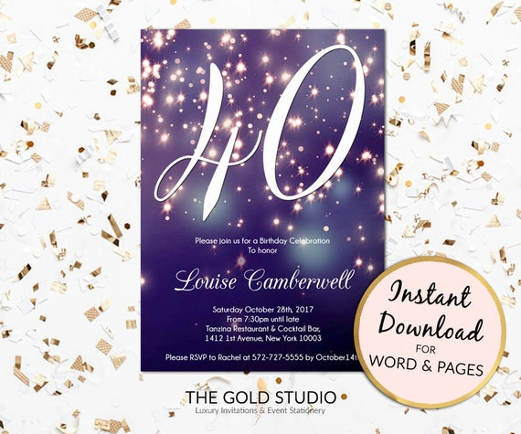 40th Birthday Invitation Instant Download Blue Purple Sparkle