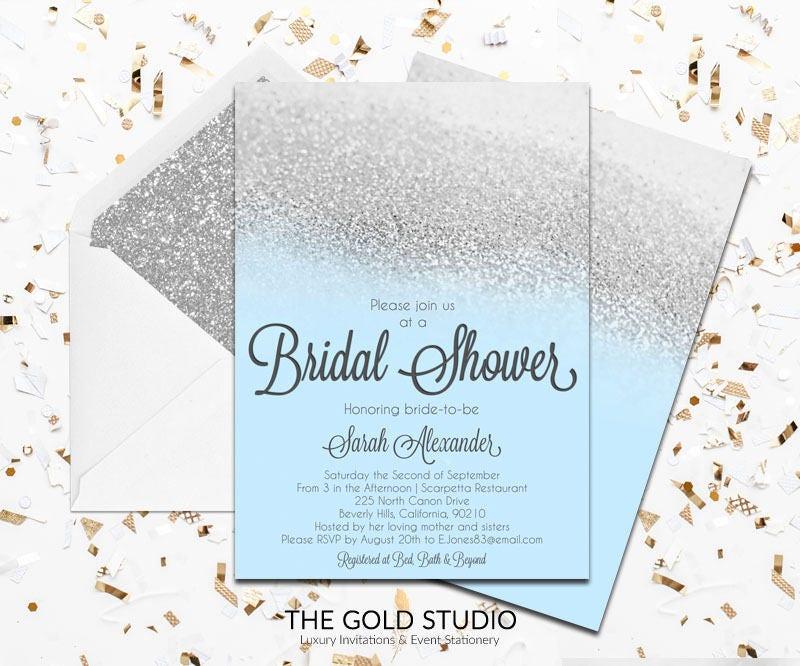83cc8e659240 Blue   Silver Glitter Bridal Shower Invitation