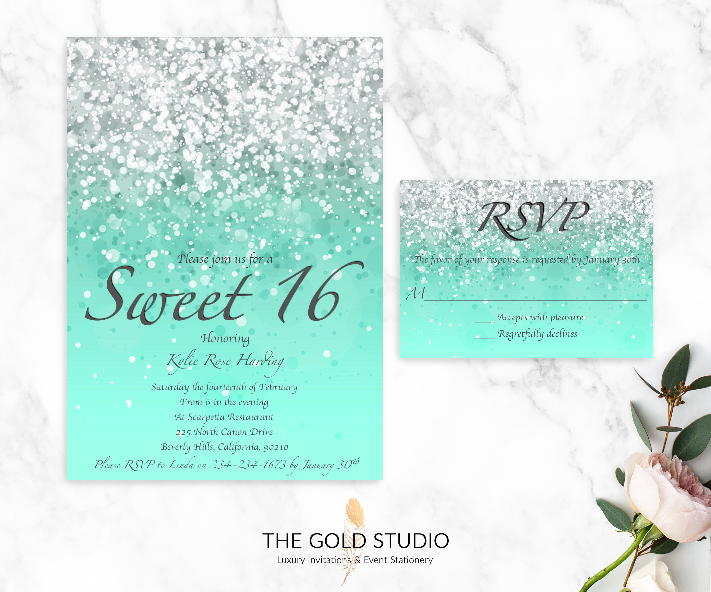 Sweet 16 Mint Green Invitations RSVP Cards