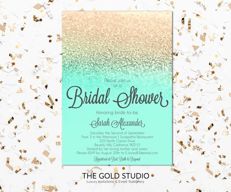 Instant Download Bridal Shower invitation mint green & gold glitter ...