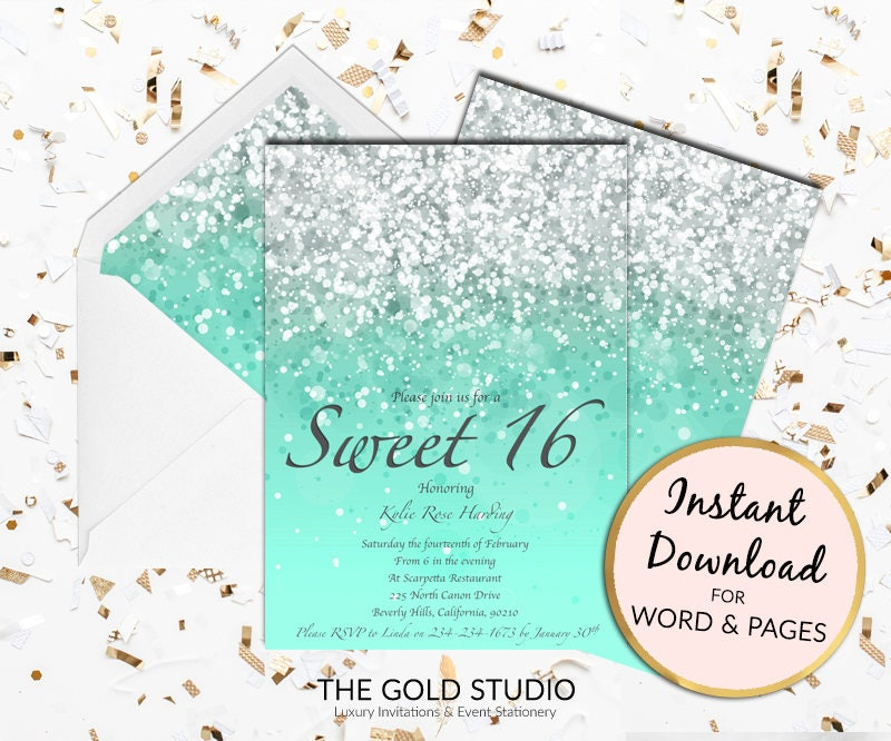 Sweet 16 invitation mint green turquoise Sweet sixteen Printable ...