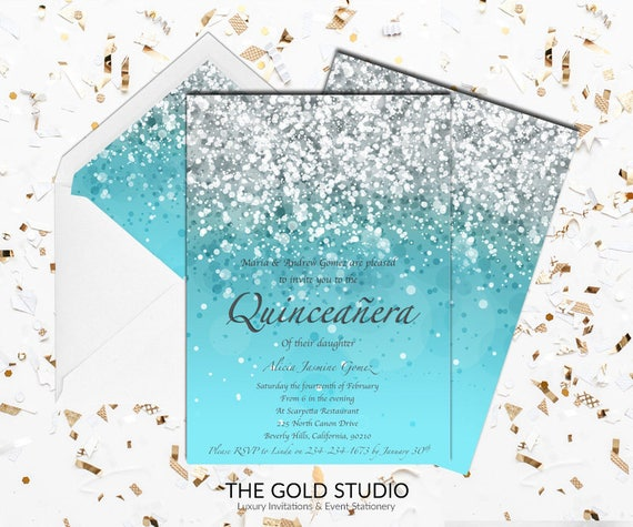 Blue Quinceanera Invitation Turquoise Glitter Mis Quince Etsy