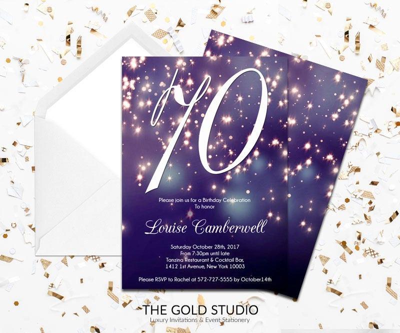 70th birthday invitation blue purple sparkle glamorous modern 70