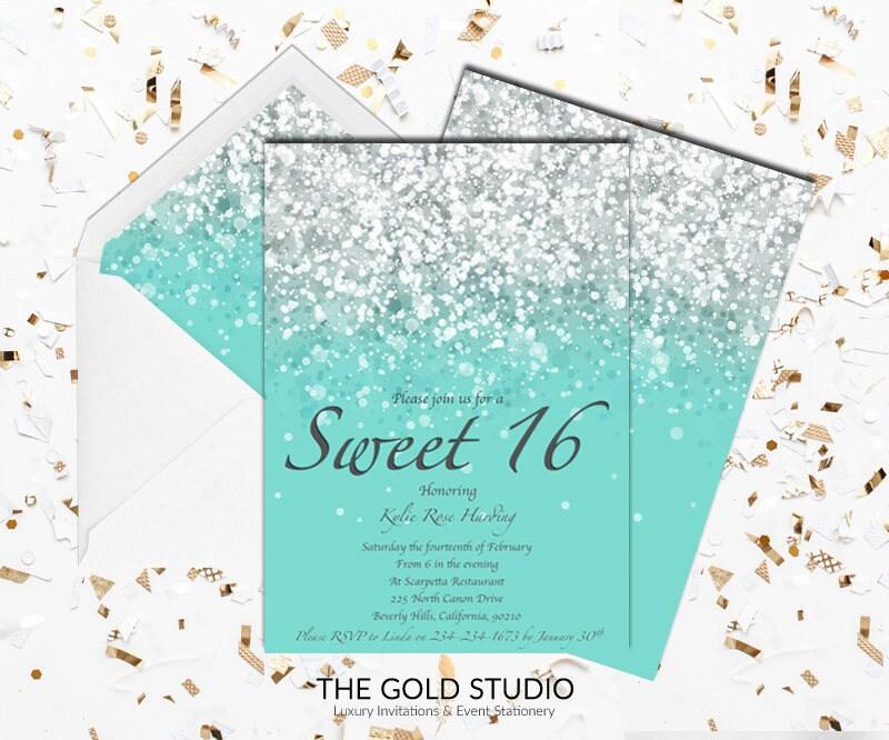 Sweet 16 invitation Teal Green Blue Glitter | Sweet Sixteen Birthday ...