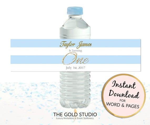 Printable Blue 1st Birthday Water Bottle Labels Boys Custom Etsy