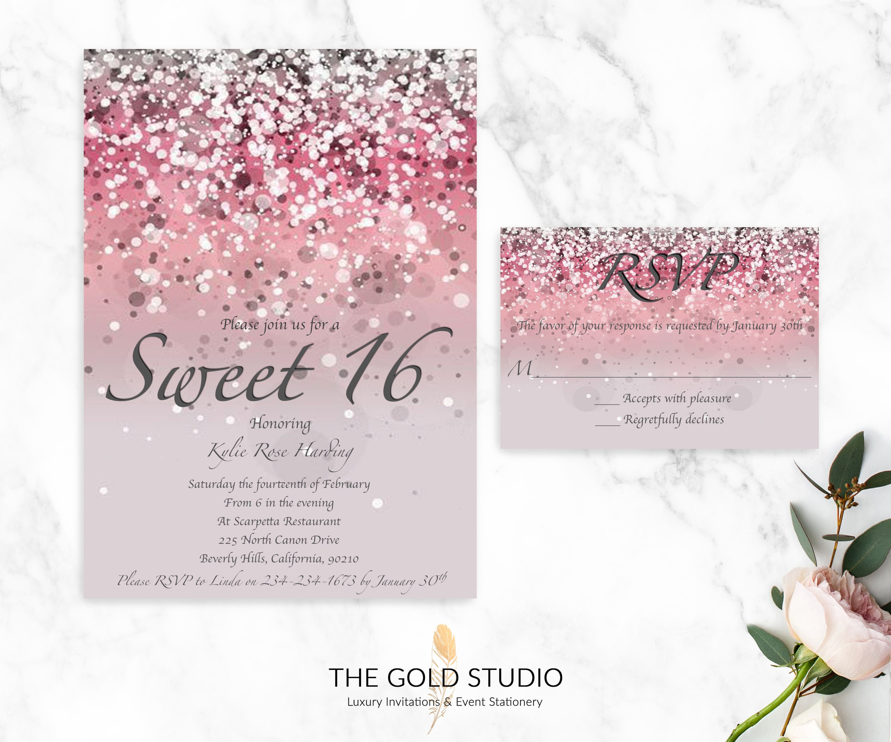 Pink Glitter Sweet 16 Invitations RSVP Cards