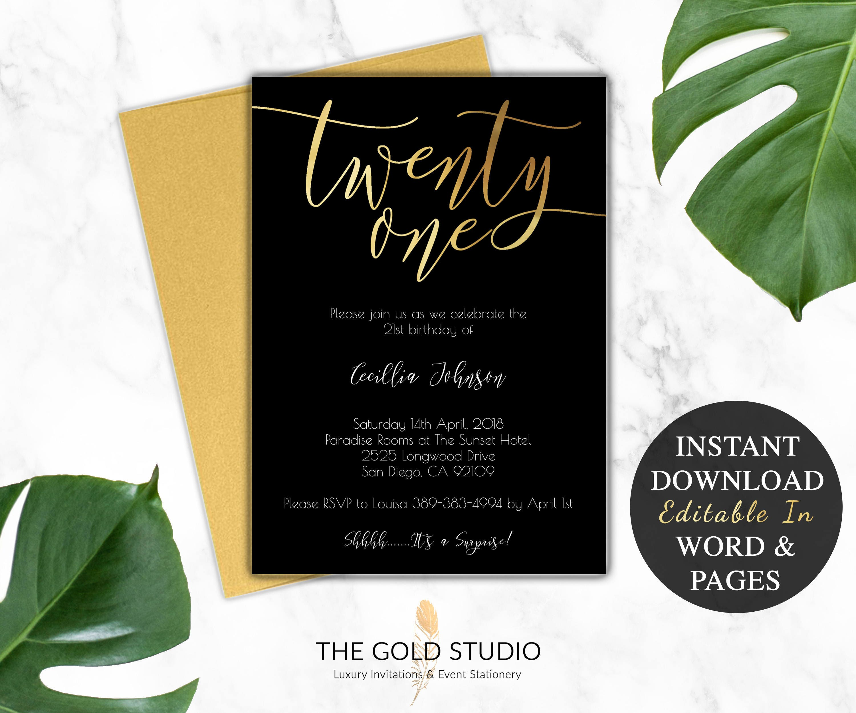 21st Birthday Invitation Instant Download Modern Black Gold