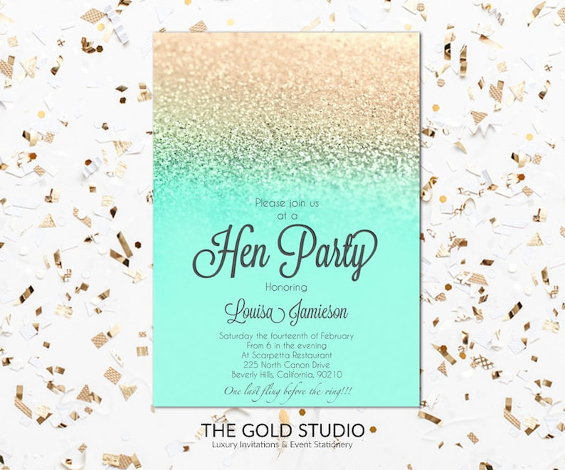 Printable mint turquoise and gold glitter Hen Party ...