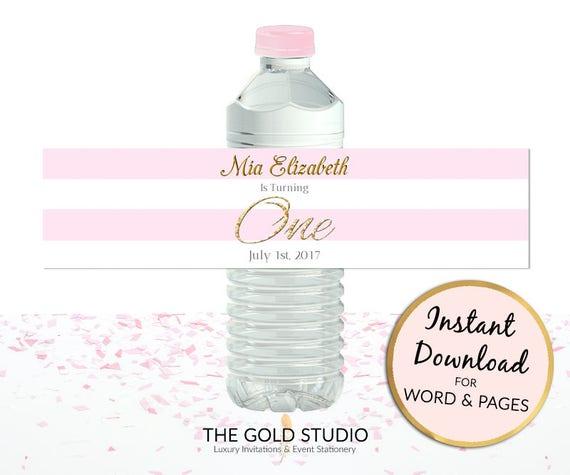 Printable Pink 1st Birthday Water Bottle Labels Girl Custom Etsy