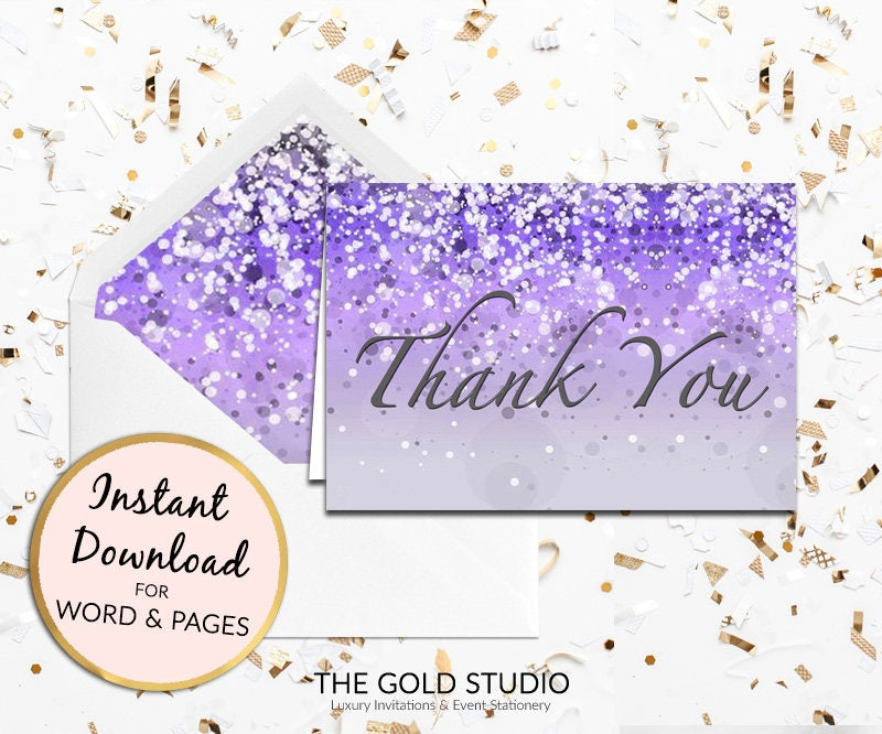 Purple Thank You Card Instant Download Lilac Thank You Note Card