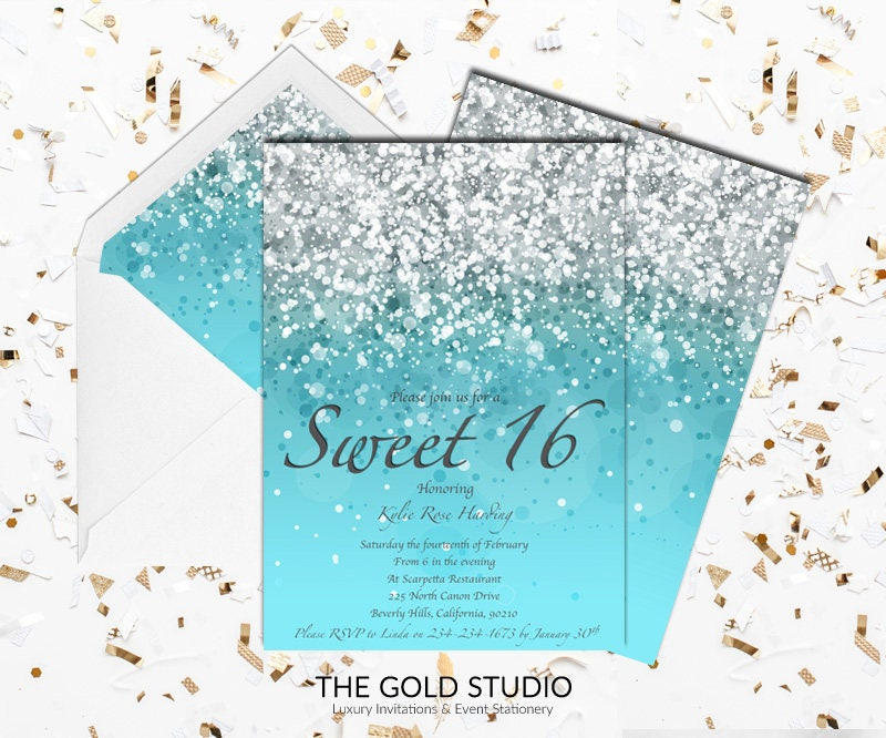 Blue Sweet 16 Invitation Turquoise Blue Glitter Sweet Sixteen