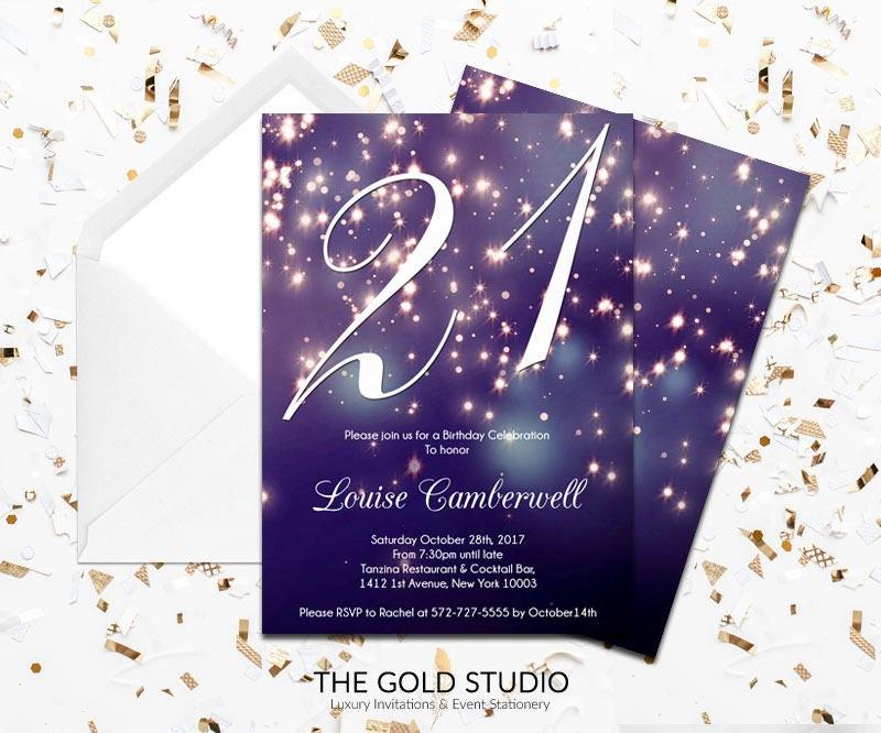 21st birthday invitation blue purple sparkle glamorous modern 21