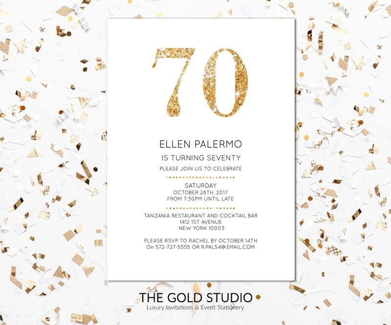 Instant download 70th birthday invitation seventy 70 modern elegant ...