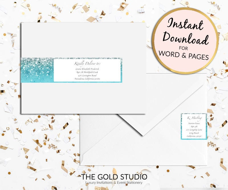 Printable Blue Glitter Return Address Labels Envelope Wrap Sticker Around Label For Mac Or PC Word Pages Instant Download