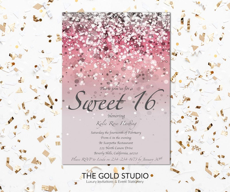 Glitter Look Gold 16Th Birthday Party Personalised Invitations