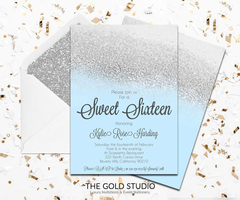 blue  u0026 silver sweet 16 invitation glamorous blue glitter