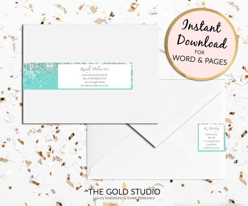 Printable Turquoise Blue Teal Return Address Labels Envelope Etsy