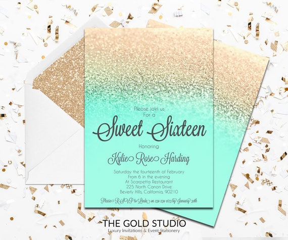 mint green gold sweet 16 invitation turquoise gold glitter etsy