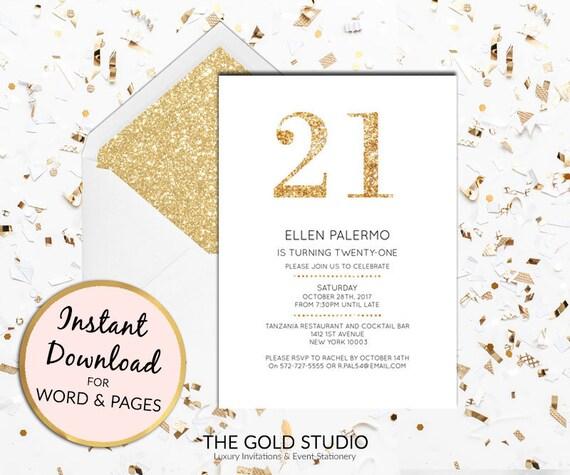 Sofortiger download 21. Geburtstags-gold-Glitter-Einladung | Etsy