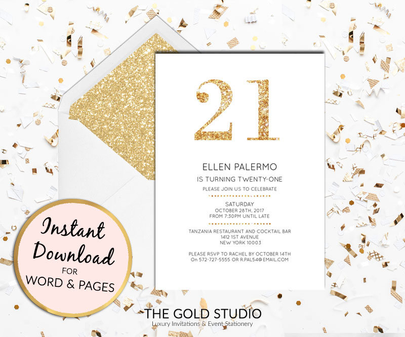 instant download 21st birthday gold glitter invitation twenty first