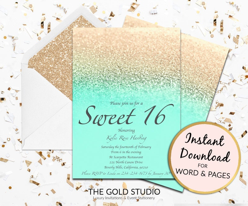 Sweet 16 invitation mint gold glitter sweet sixteen modern sweet 16 invitation mint gold glitter sweet sixteen modern turquoise birthday invite template mac or pc word or pages instant download stopboris Image collections