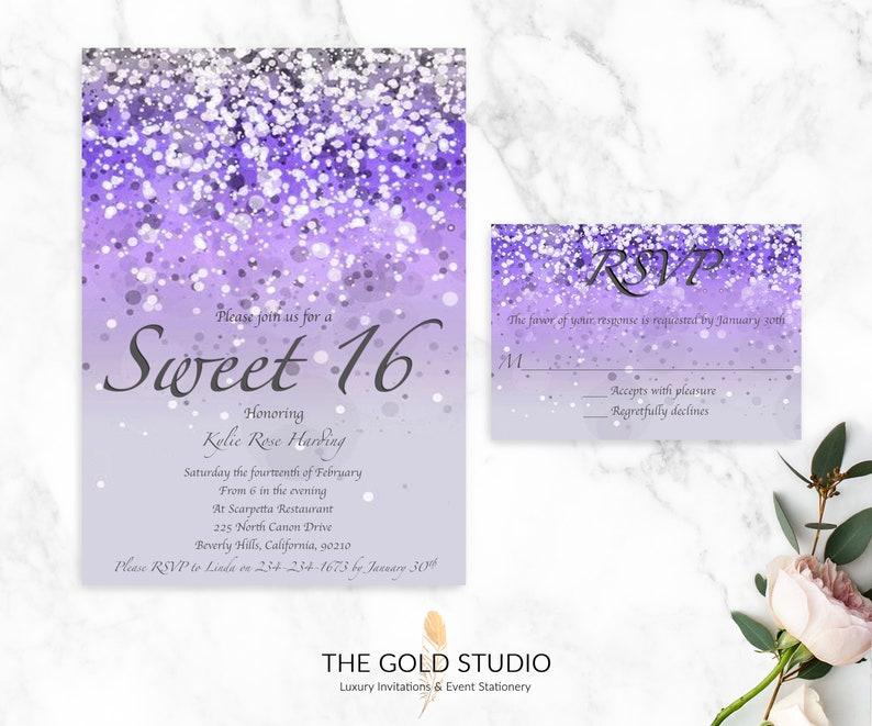 Sweet 16 Invitation RSVP Purple Glitter Sixteen