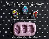 Day of the Dead Skull Silicone Mold Fondant Chocolate Candy Polymer Clay Craft Halloween Mask Cupcake Topper Sugar Cake Decorations