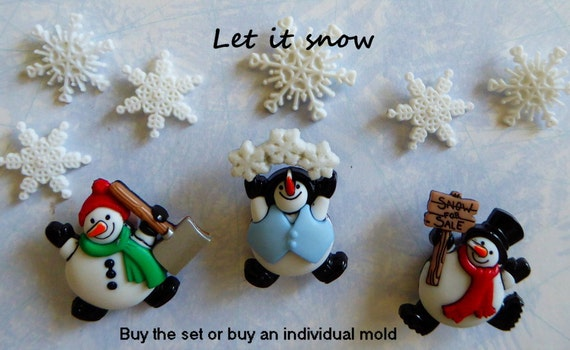 Christmas Tree /& Snowmen Themed Mould Silicone Fondant Topper
