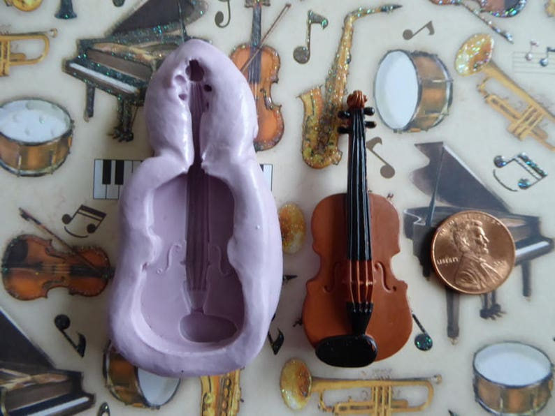 e0d68c690216e Violin Silicone Mold Cake Tool Fondant Chocolate Candy Cupcake Topper Sugar  Decorations Polymer Clay Craft Fiddle Musical Instrument