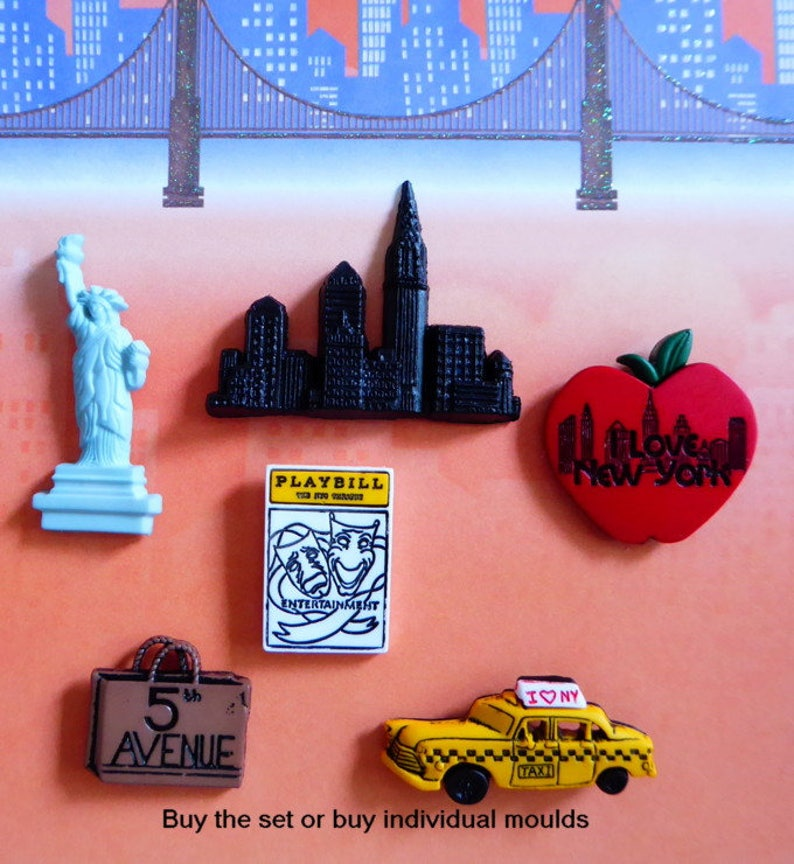 b91be99a510 NYC Skyline Silicone Mold Fondant Chocolate Candy Polymer Clay