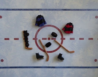 Hockey Stick Skate Silicone Mold Cake Tool Fondant Chocolate Candy DIY Cupcake Topper Decorations Polymer Clay Craft Jersey Puck