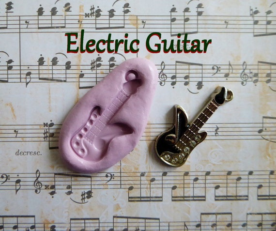 Electric Guitar Silicone Mold Fondant Chocolate Candy Polymer Clay