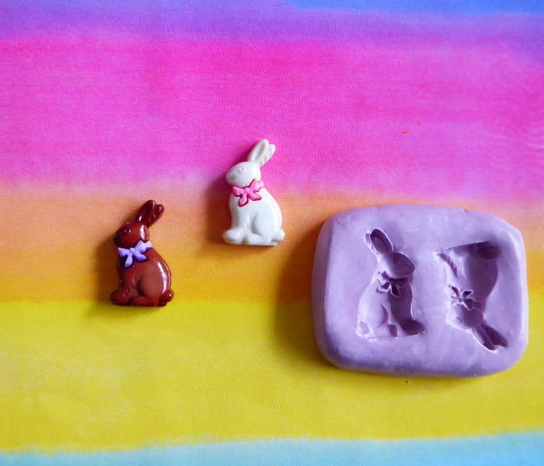 Easter Chocolate Bunny Silicone Mold Cake Tool Fondant Chocolate Candy Cupcake Topper Sugar Decorations Polymer Clay Craft